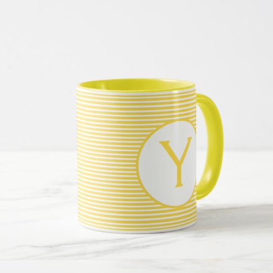 Yellow Stripe Monogram Mug