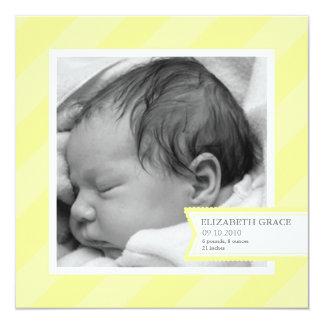 Yellow Stripe Photo Birth Announcement