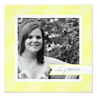 Yellow Stripe Photo Graduation Announcement