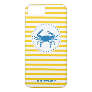 Yellow Striped Crab iPhone 7 Case