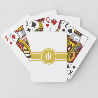 Yellow Striped Customizable Personalized Monogram Playing Cards