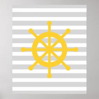 Yellow Striped Nautical Ship Wheel Poster