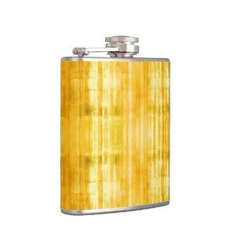 Yellow Stripes Art Pattern Hip Flask