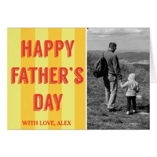 Yellow Stripes Black White Photo Father's Day Card
