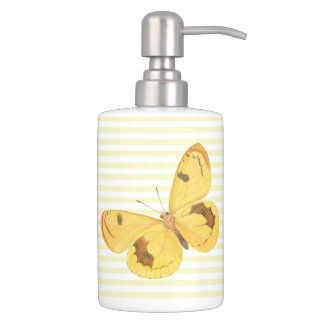 Yellow Stripes & Butterflies - Soap Dispenser Set
