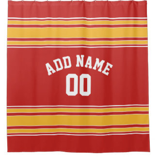 Yellow Stripes Sports Jersey U can CHANGE COLOR Shower Curtain