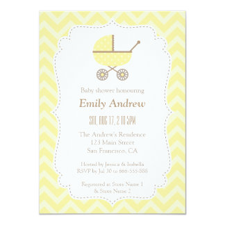 Yellow Stroller Modern Gender Neutral Baby Shower Card
