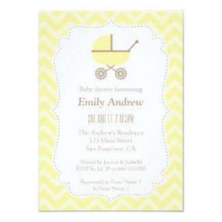 Yellow Stroller Modern Gender Neutral Baby Shower 11 Cm X 16 Cm Invitation Card