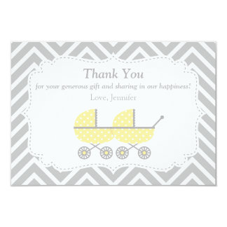 Yellow Strollers Twins Baby Shower Thank You Card 9 Cm X 13 Cm Invitation Card