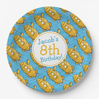 Yellow Submarine Boy's Birthday Paper Plate