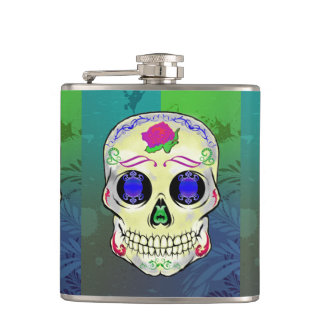 Yellow Sugar Skull with Purple Rose Hip Flask