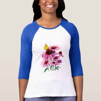 Yellow Sulpher Butterfly on Coneflower Ladies T-Shirt