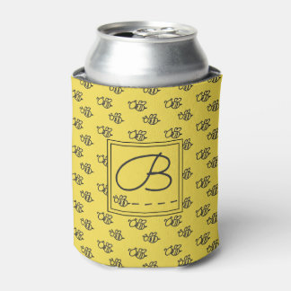 Yellow Summer Bees Monogram Pattern Can Cooler