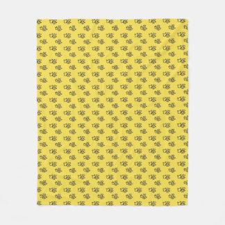 Yellow Summer Bees Pattern Fleece Blanket