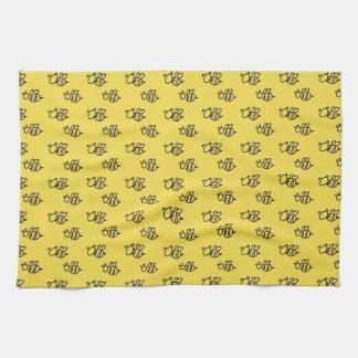 Yellow Summer Bees Pattern Tea Towel