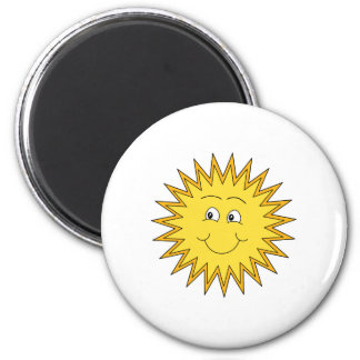 Yellow Summer Sun with a Happy Face. 6 Cm Round Magnet