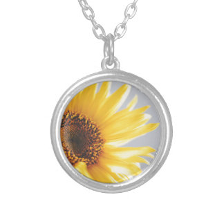 Yellow Summer Sunflower Silver Plated Necklace