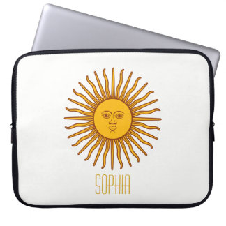Yellow Sun Astrology Planet Personalize Name White Laptop Sleeve