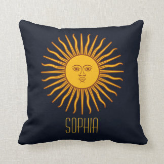 Yellow Sun Astrology Planet Personlized Name Blue Cushion