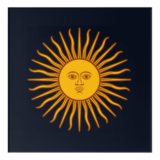 Yellow Sun Astrology Planet Symbol Blue Acrylic Wall Art
