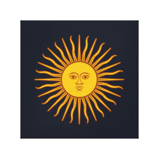 Yellow Sun Astrology Planet Symbol Blue Canvas Print