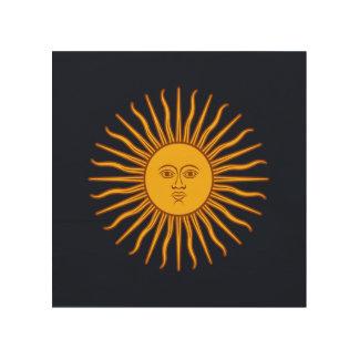 Yellow Sun Astrology Planet Symbol Blue Wood Wall Art