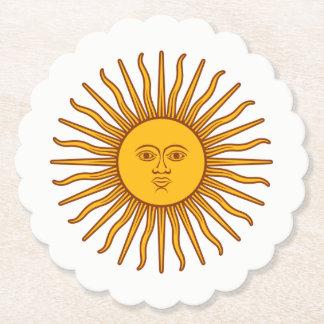 Yellow Sun Astrology Planet Symbol On White Paper Coaster