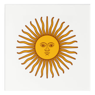 Yellow Sun Astrology Planet Symbol White Acrylic Print