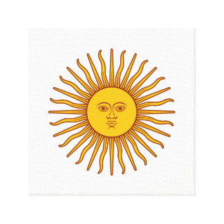 Yellow Sun Astrology Planet Symbol White Canvas Print