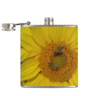 yellow sun flower summer blossom hip flask