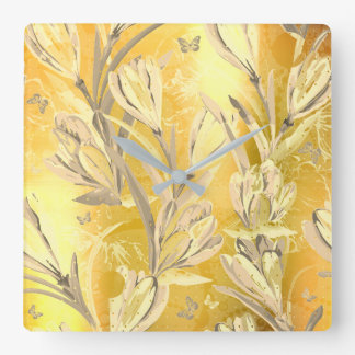 Yellow Sun  Ivory Brown Bohemian Floral Butterfly Square Wall Clock