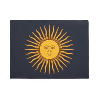 Yellow Sun Symbol Drawing On Dark Blue Doormat