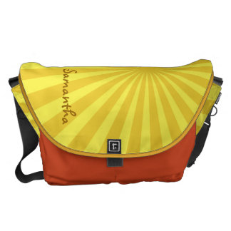 "Yellow Sunburst ""Add Your Name"" Commuter Bags"