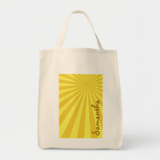 """Yellow Sunburst """"Add Your Name"""" Grocery Tote Bag"""