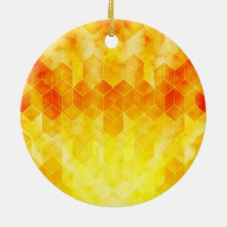 Yellow Sunburst Geometric Cube Design Ceramic Ornament