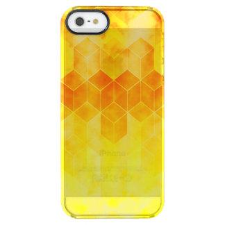 Yellow Sunburst Geometric Cube Design Clear iPhone SE/5/5s Case
