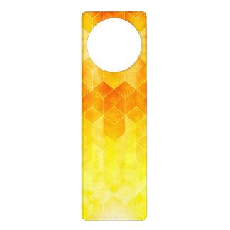 Yellow Sunburst Geometric Cube Design Door Hanger