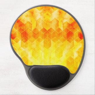 Yellow Sunburst Geometric Cube Design Gel Mouse Pad