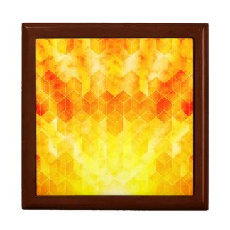 Yellow Sunburst Geometric Cube Design Gift Box