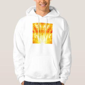 Yellow Sunburst Geometric Cube Design Hoodie