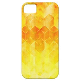 Yellow Sunburst Geometric Cube Design iPhone 5 Case