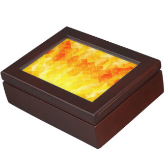 Yellow Sunburst Geometric Cube Design Keepsake Box