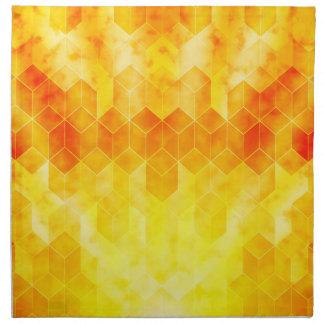 Yellow Sunburst Geometric Cube Design Napkin