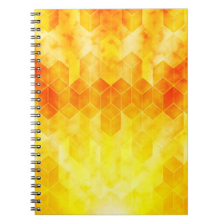 Yellow Sunburst Geometric Cube Design Notebook