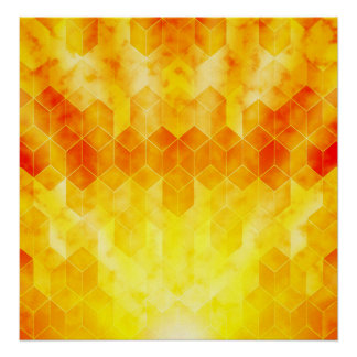 Yellow Sunburst Geometric Cube Design Poster