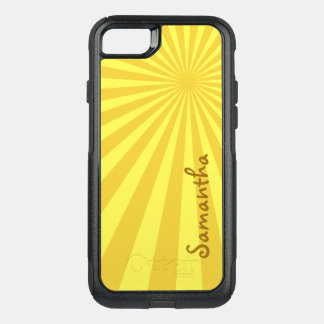 Yellow Sunburst Pattern with Your Name: Custom OtterBox Commuter iPhone 8/7 Case