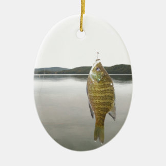 Yellow sunfish at Lake Arrowhead Ceramic Ornament