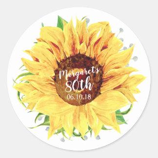 Yellow Sunflower 80th Birthday Envelope Seal
