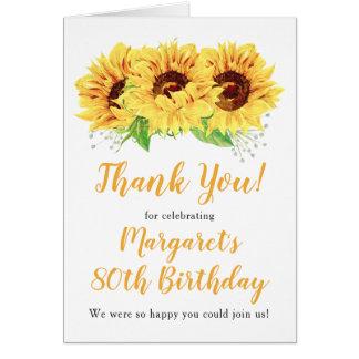 Yellow Sunflower 80th Birthday Thank You Card