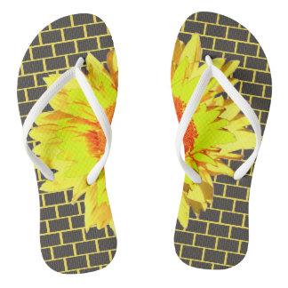 Yellow Sunflower Accented Gray Brick Yellow Thongs